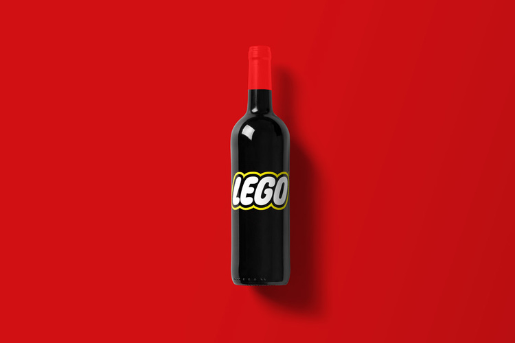 Branded Wine Bottles - if every brand had it's own wine, Lego wine bottle