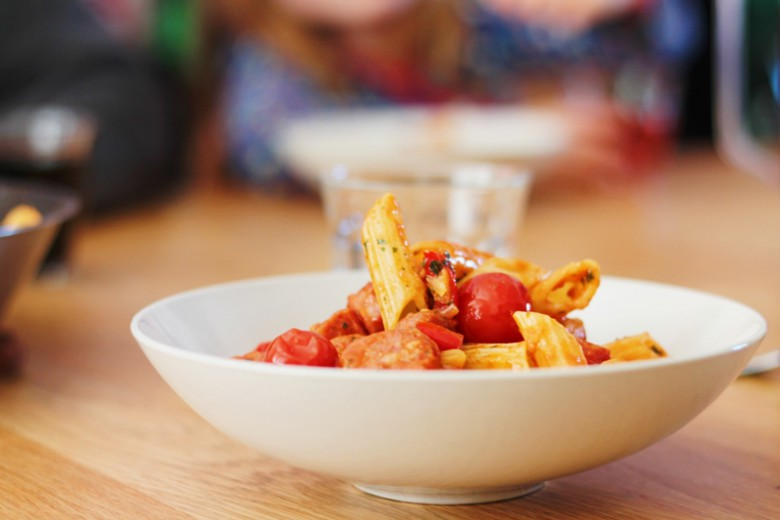 Penne Pasta with Salsiccia and Tomato Sauce