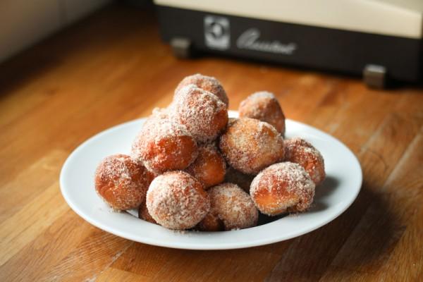 Donut Holes with Cinnamon, Applesauce & Vanilla Ice Cream