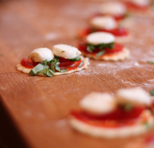 Mini Pizzas With Fresh Mozzarella and Basil