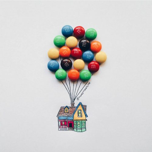 Cute Candy Illustrations uses real sweets to make them complete