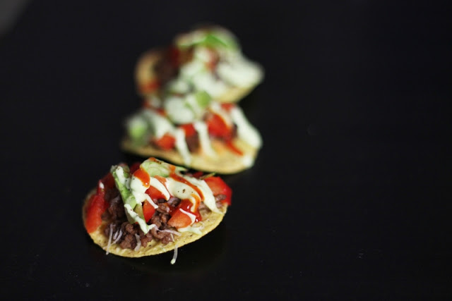Nacho Bites with Avocado Mayonnaise & Red Peppers