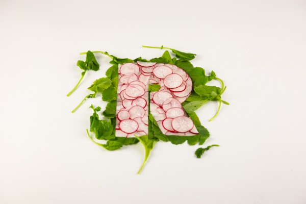 A-Z Food Photography Project - R is for Radishes, food lettering and food typography at Ateriet.com