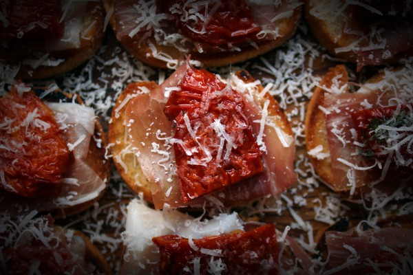 Tomato Crostini with Parma Ham and Parmesan Cheese