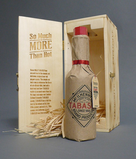 Tabasco in wood box, Wood Food Packaging - 10 Great Ideas