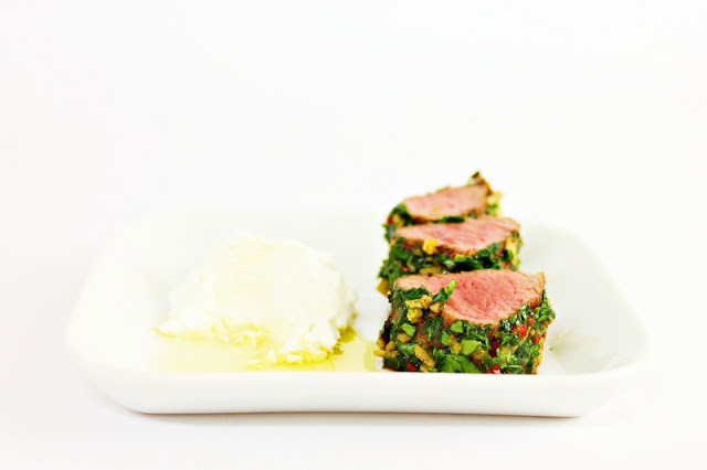 Herbed Lamb Fillet with Goat Cheese