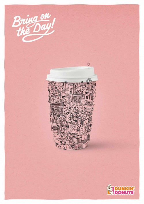 Dunkin Donuts Ads with illustrated coffee cups