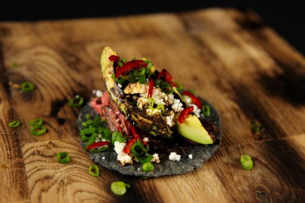 Charred Avocado Taco with Beef & Feta Cheese