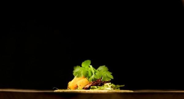 Beef taco with mango salsa and cilantro 2