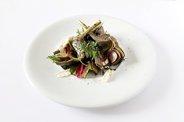 Grilled Artichokes with Garlic Butter and Herb Salad