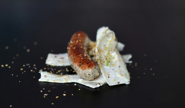Nürnberger Sausage with creamy Fennel coleslaw & Mustard Seeds
