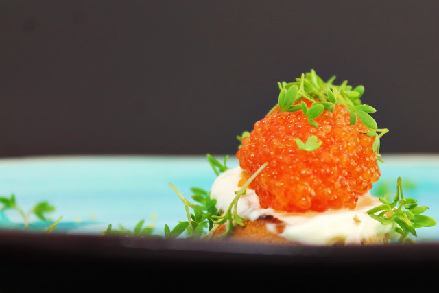 Fish Roe Toast with Cress and Lemon Crème Fraiché