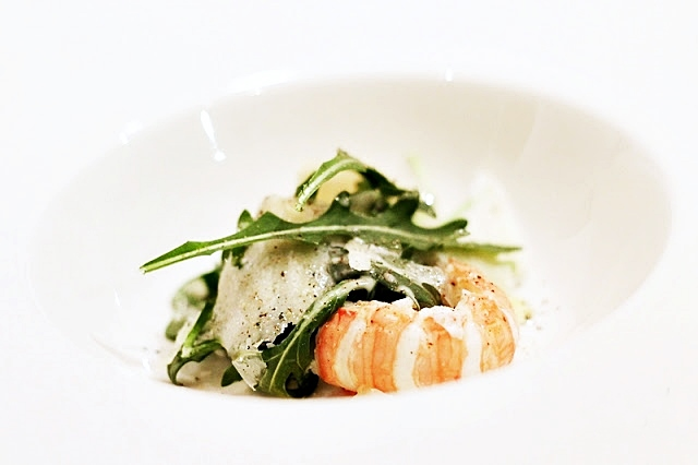 Arugula Caesar Salad with Langoustine and Parmesan Cheese