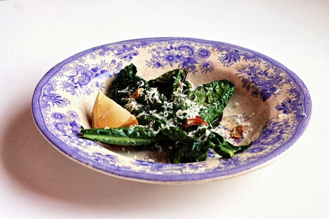 Black Italian Cabbage with Lemon, Parmesan and Garlic