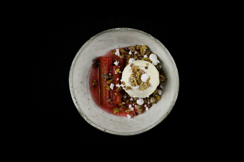 Poached Rhubarb, White Chocolate Granola Crumble & Vanilla Ice Cream