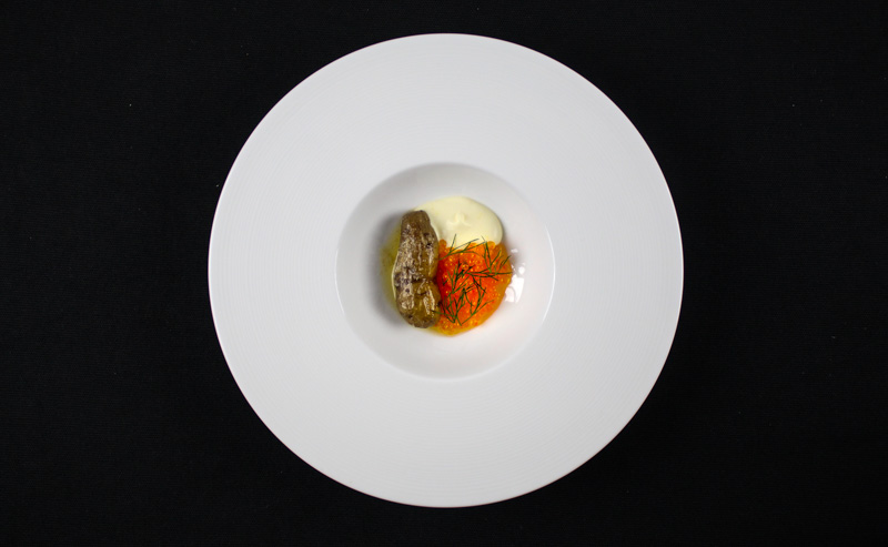 Smoked Potato With Trout Roe, Lemon Creme Fraiche and Dill