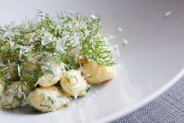 Quick Fennel Gnocchi with Garlic, Parmesan and Fennel Dill