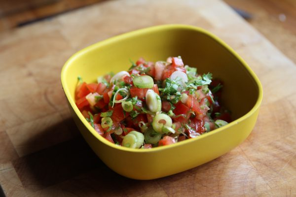 Quick Tomato Cilantro Salsa with Scallions and Jalapeno