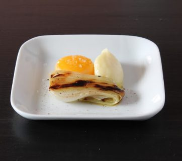 Egg Yolk Confit with Parsnip Cream and Grilled Onion