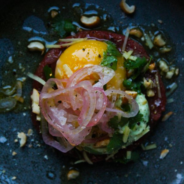 Asian Beef Tartare with Cilantro Mayonnaise, Cashews and Egg Yolk Confit