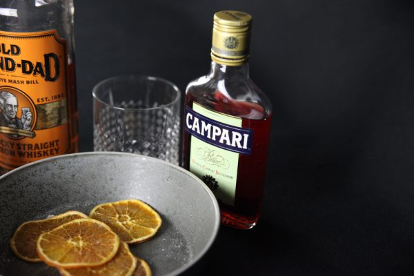Grilled Orange Old Fashioned With Orange Chips and Campari