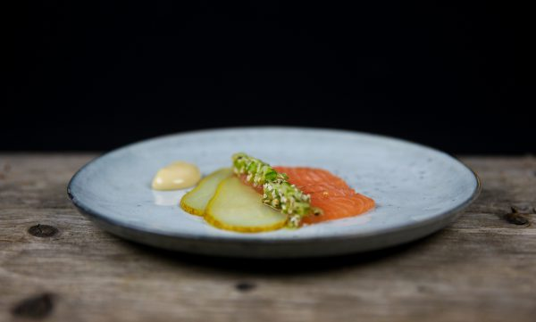 Salmon Crudo with Pickled Pear, Soy Mayonnaise and Cucumber