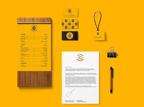 Hamburger Branding and Packaging for Crave Burger