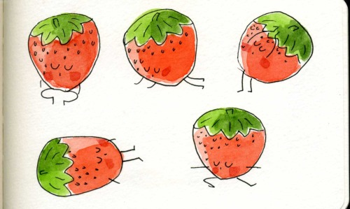 fruit doing yoga