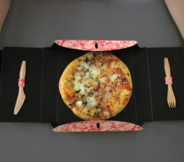 pizza box design with knife and fork