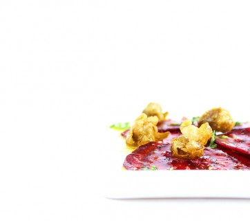 beet carpaccio with capers
