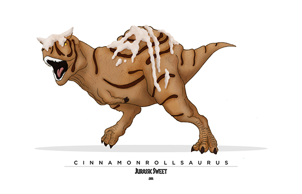 Dinosaurs and Sweets Merge In These Cool Illustrations