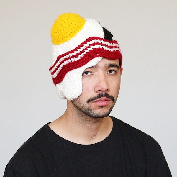 bacon and egg knitted hat