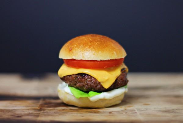 Home made hamburger on cutting board