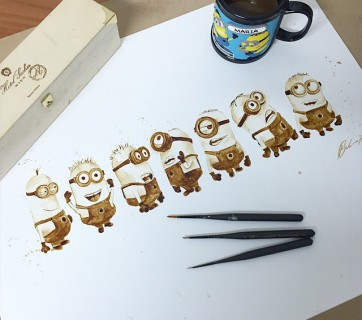 minions coffee painting