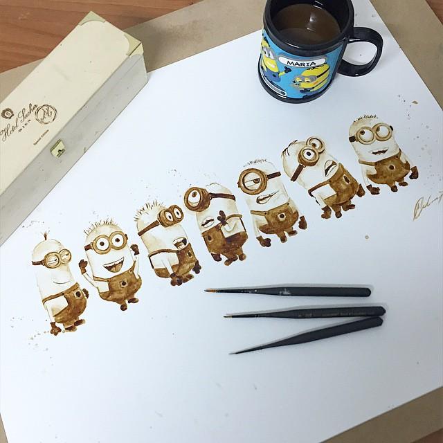 minions coffee painting