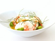egg with dill and shrimps