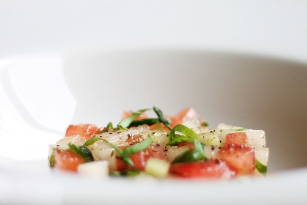 Vegan Melon Tartar with Tomatoes, Mint and Black Pepper