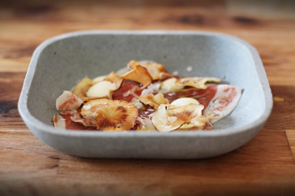Iberico Ham with Sunchokes and Olive Oil Mayonnaise