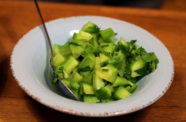 Marinated Cucumber with mint and lime