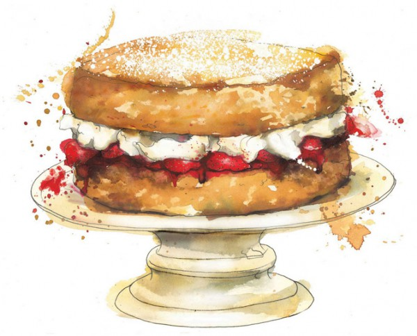 Watercolor food illustrations, illustration of Strawberry cake by Gerogina Luck