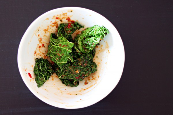Quick Kimchi Salad with Savoy cabbage or Kale