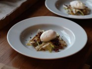 Poached egg with Endives, Bacon, Butter and Thyme