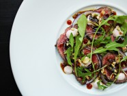 Asian Beef Carpaccio with soy, wasabi and chili, find it at Ateriet