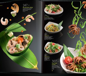 Flying Sushi is the theme for this cool menu made for Yakitoriya in Russia, see more at Ateriet.com