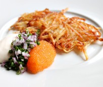 Swedish Hash Browns with bleak roe, sour cream and onions