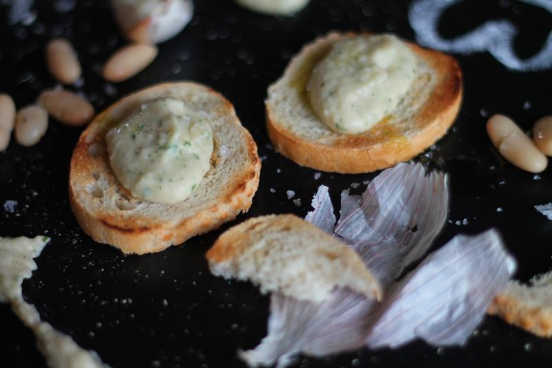White Bean Hummus on Crostini