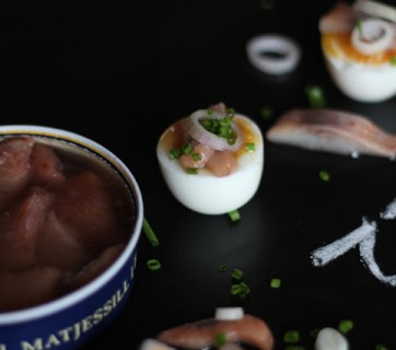 Soused Herring with soft boiled eggs and raw onion