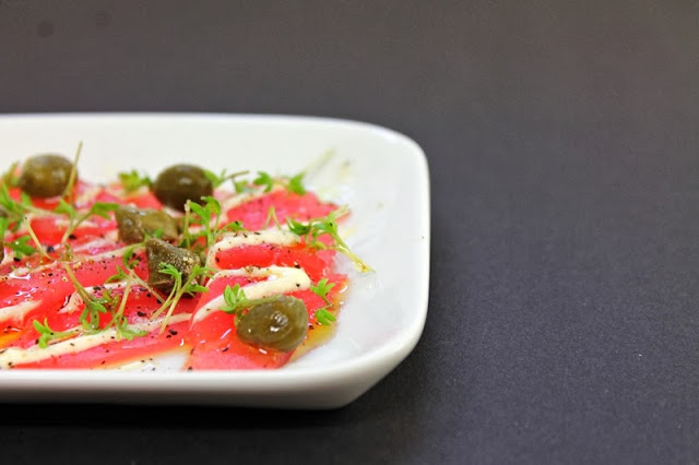 Try our recipe for this delicious Tuna Carpaccio with capers, cress and mayonnaise. A great way to add some flavor to this great fish.