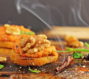 Red Pepper Walnut Dip with Crostini