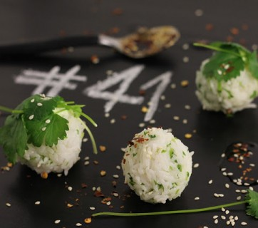 Cilantro Rice Balls with Sesame Seeds and Asian Dip